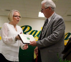 Kevin Spradlin | PeeDeePost.com Jewell Price, who is set to retire as guidance counselor from Richmond Senior High School, was recognized with the Honored Service Award.