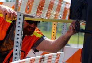 Kevin Spradlin | PeeDeePost.com Tony Brown measures the distance from the tailgate to the simulated dock.