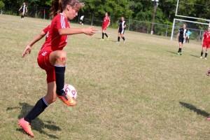 Kevin Spradlin | PeeDeePost.com Chloe Wiggins recorded an assist on Emily Buie's goal, Hamlet's first of the match.