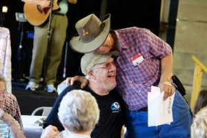 Kevin Spradlin | PeeDeePost.com Rev. Bob Carpenter greets an old friend inside the Norman Community Center.