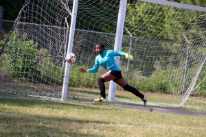 Kevin Spradlin | PeeDeePost.com Rockingham's goalie did an impressive job of keeping the ball out of the net. Three times the ball got by her, but she faced a barrage of shots from an energized Red Rams offense.