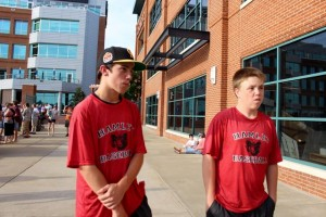 MacKenzie Spradlin | PeeDeePost.com Alex Anderson, left, and Dawson Bryant give what is likely their first interviews inside a Minor League Baseball stadium on Saturday in Durham to The Pee Dee Post.