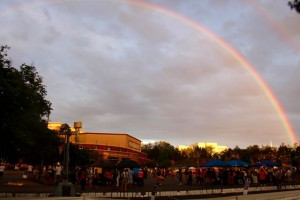 Kevin Spradlin | PeeDeePost.com A double rainbow seems to shield Cole Auditorium from any rain that might fall.