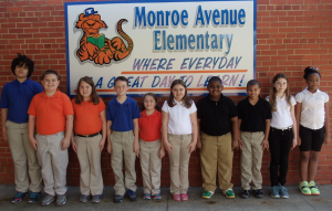 Submitted photo Students achieving Distinguished List for the third nine-week academic period at Monroe Avenue Elementary School include: Left to Right: Jaiden Baldwin, Joshua Foster, Rayne Pitchford, Kadin Long, Campbell Gross, Chloe Foster, Camron Bowden, Deon Little, Bailey Kirk and Amaya Little.
