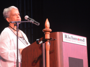 "An RCC photo Retiring Vice President of Student Services Saundra Richardson to graduates: ""There's a whole lot of ignorance in the world, but I challenge everyone here to be above that."""