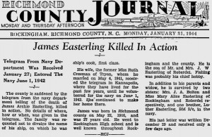 A Richmond County Journal article on Jan. 31, 1944 informed readers of James Archie Easterling's death.