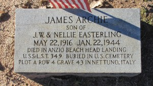 James Archie Easterling is buried in Eastside Cemetery in Rockingham, but has a grave marker noting his sacrifice on Anzio Beach Head in Italy.