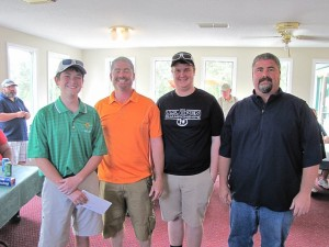 Submitted photo Scotty, Cameron, Kvin and Evin Mabe teamed up to win the Raider Band Fans Golf Classic on Saturday in Pinebluff.