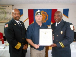 Submitted photo Lt. Vernon McKinnon, right, of the Rockingham Fire Department is presented an award Friday night as the American Legion Post 147 Firefighter of the Year by Post Commander Robert Steele, center. With them is Rockingham Fire Chief Harold Isler.