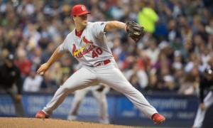 Photo by Scott Paulus | St. Louis Cardinals Navy veteran Mitch Harris pitches against the Milwaukee Brewers in his Major League Baseball debut on April 25, 2015.