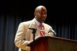 Kevin Spradlin | PeeDeePost.com Assistant Principal William Kelley offered words of wisdom and encouragement to 63 members of the Class of 2015 of Leak Street High School.