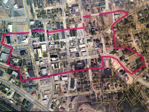 This image shows the boundary of the proposed Downtown Facade Improvement Grant District in Rockingham.