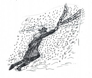 A sketch attached of John Hosbrook passing the Torch of Liberty on to today's generation as he collapses in a blizzard.
