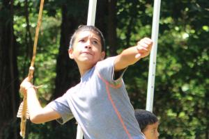Kevin Spradlin   PeeDeePost.com Steven Morales, a seventh-grader at Hamlet Middle School, takes his turn with the atlatl.