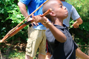 Kevin Spradlin | PeeDeePost.com Isaiah Wall puts full effort into throwing the atlatl.