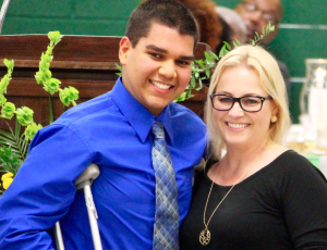Kevin Spradlin | PeeDeePost.com Jonathan Hernandez was recognized in May at the Academic Awards Banquet in May at Richmond Senior High School. Here, he stands with Christy Ransom, guidance counselor.