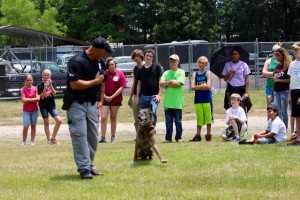 Kevin Spradlin | PeeDeePost.com Sgt. Glen Harris and Breston put on a show of obedience and discipline for Junior Police Academy cadets.