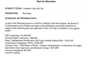 A breakdown of bid amounts and contractors expected to be a part of the Ledbetter Dam repair project. Click on image for larger version.