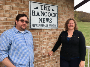 Photo by Kevin Spradlin Reporter Geoff Fox, left, and Kate Shunney, editor, lead the news coverage for only print newspaper dedicated to covering the town of Hancock, Maryland, in western Washington County.