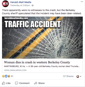A fatal traffic accident in Berkeley County, W.Va., is worth reporting to all of the Herald-Mail's readers.