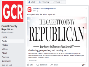 Mary Sincell McEwen publishes her farewell column on The Garrett County Republican's Facebook page.
