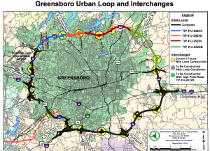 This image - click on it for a larger version - shows the Greensboro Urban Loop's project segments, including the current phase, upon which work could begin as soon as April 30.