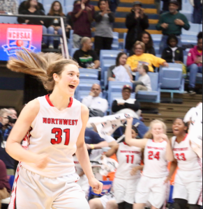 Kevin Spradlin | PiedmontPostNC.com Northwest Guilford Vikings senior Elizabeth Kitley was named to the AP all-state team. Here, she's all smiles after nailing to clutch free throws in the final seconds of her team's come-from-behind victory over Southeast Raleigh in the state title game.