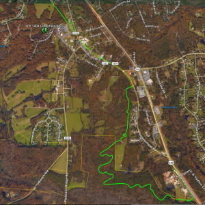 Google Earth image courtesy of Scott Whitaker This image shows the entire proposed route of the 3.7-mile section of the A&Y Greenway through the Town of Summerfield