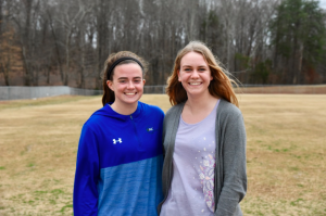 Photo by Kevin Spradlin | PiedmontPostNC.com Meredith Sinkler, left, and Samantha Gregory are teammates in the Northwest Vikings lacrosse program. This month, however, they are teaming up to stage a 5K charity run to benefit the Cone Health Cancer Center.