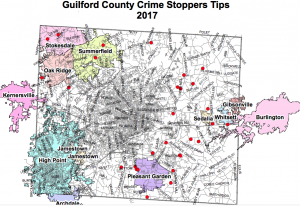Click on image for larger version The red dots on this map show locations tips came in during all of 2017 from across Guilford County.